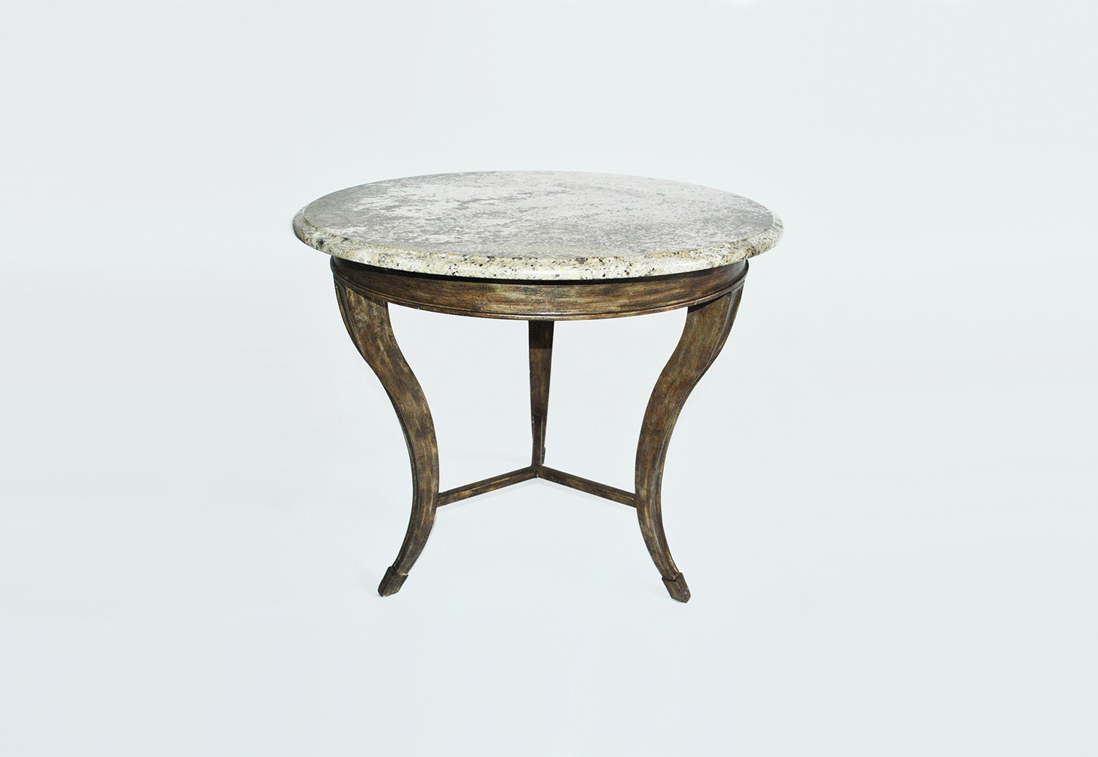 Scrolled metal and wood coffee table - Grant End Table