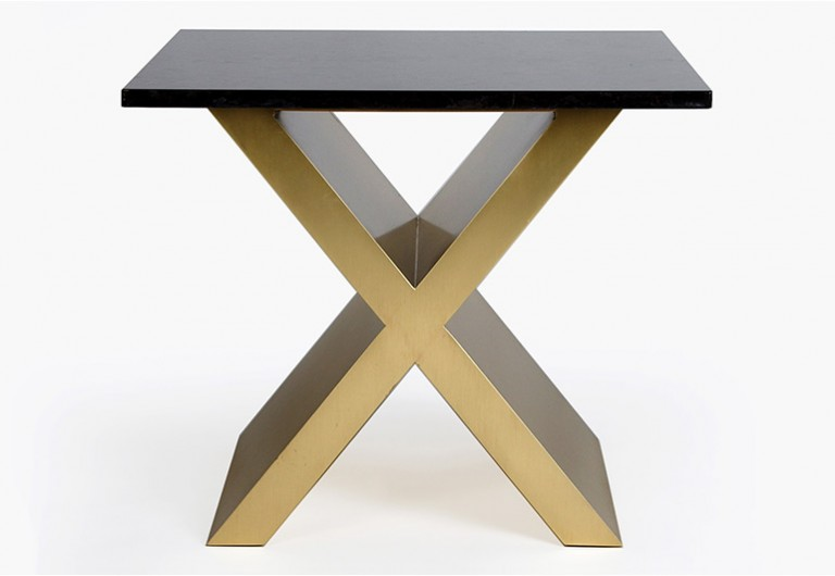 Brass X End Table
