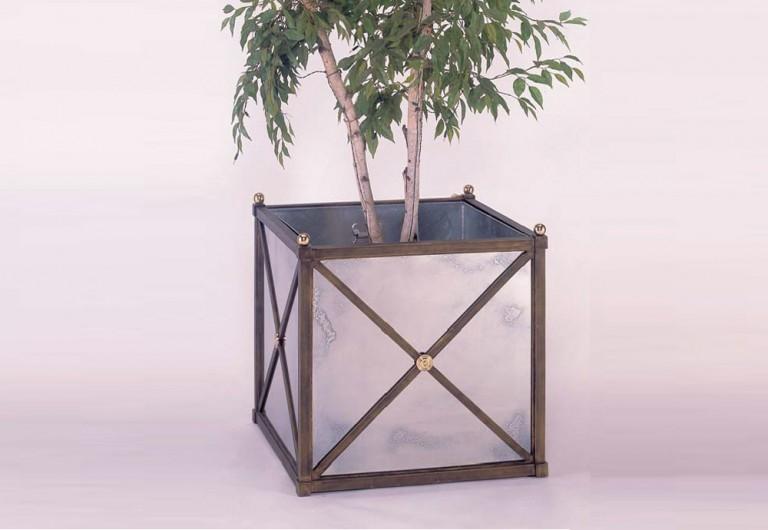 """CLASSIC"" Handmade Planter With Antique Mirror Panels"