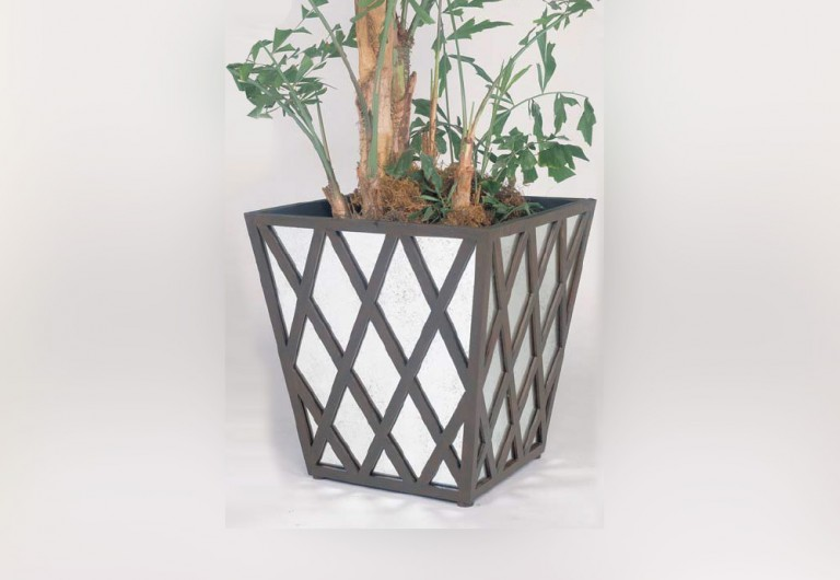 Lattice Handmade Square Planter With Antique Mirror