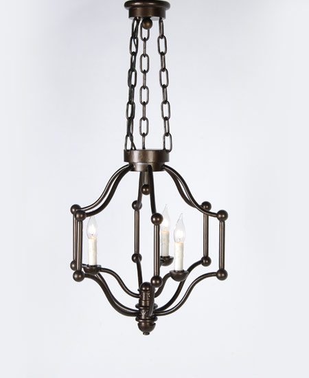 Six Arm Three-Light Fixture with Balls at Corners - Murray's Iron Works new products