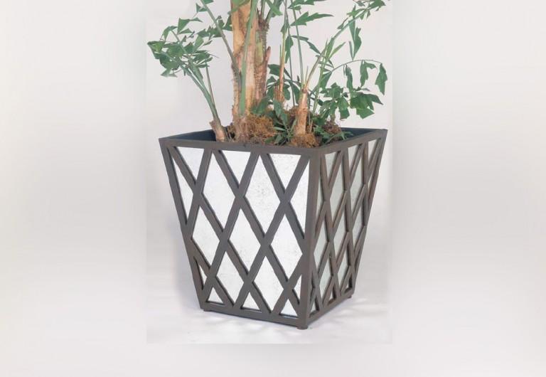 Lattice Handmade Square Planter With Antique Mirror