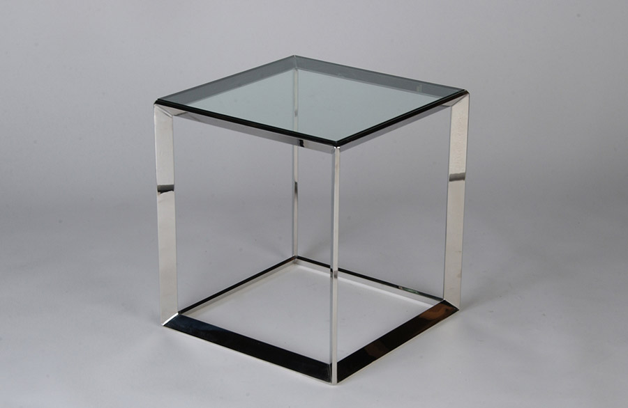 Angled Rectangular Polished Stainless End Table to Match Coffee Table