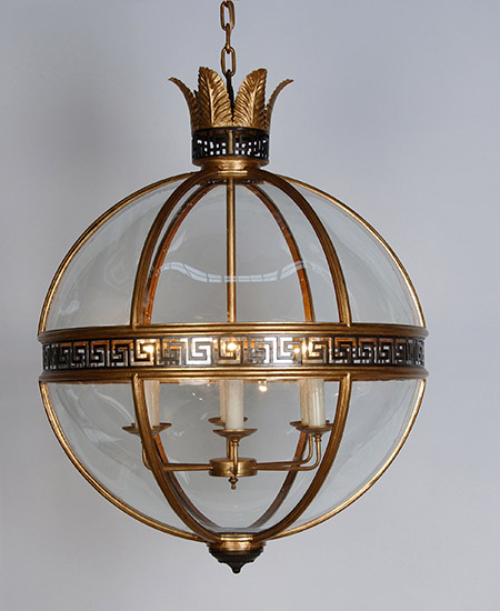 Greek Key Center Banded Round Light Fixture with Glass Panels Detail of Greek Key Banding - Murray's Iron Works new products