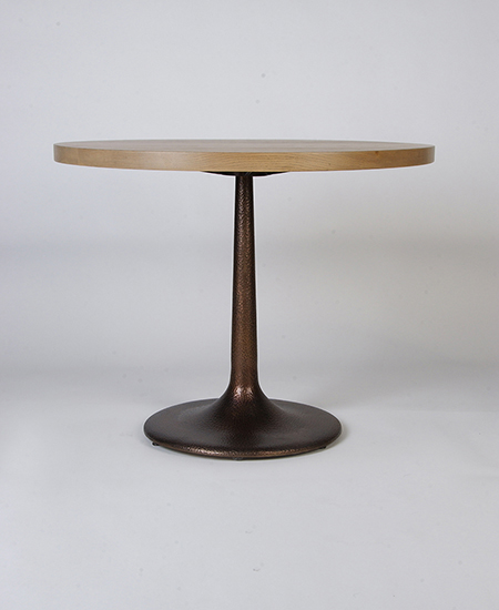 Hand Forged Textured Bronze Pedestal Table with Wood Top - Murray's Iron Works new products