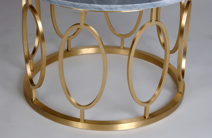 Round Brushed Brass Coffee Table with Oval Frieze and Layon Stone Top